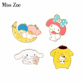 Trendy Miss Zoe Cartoon Girl Boy on Moon Dog Rabbit Rosette Brooches Button Pins Denim Jacket Pin Badge Jewelry Gift for Kids Girls AT_94_13