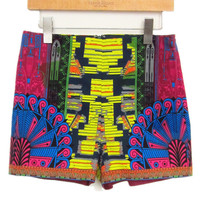 Rose Red Ethnic Print Shorts