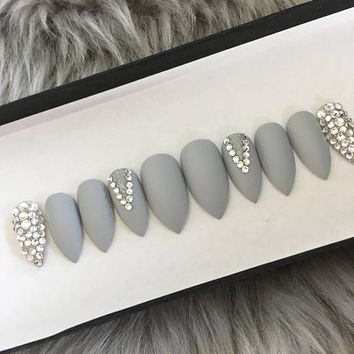 Matte gray press on nails • Swarovski crystals • stiletto nails • coffin nails • Fake nails • False nails • Acrylic nails • gel nails