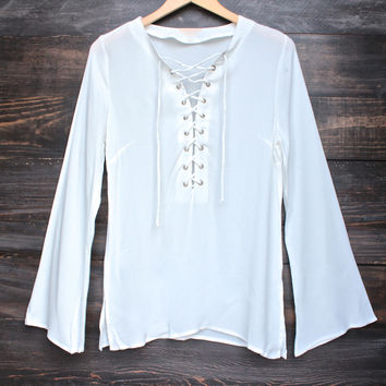 gypsy life oversize front-tie tunic - white