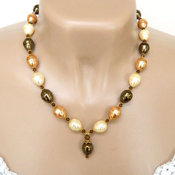 Brown, Peach and Cream Glass Pearl Necklace Handcrafted Crystal Short Gold Adjustable