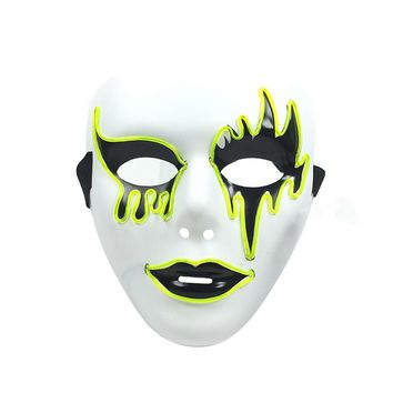 El Wire Glowing Mask Luminous LED Light Up Cool Christmas Halloween DJ Birthday Cosplay Masks for Festival Party Show