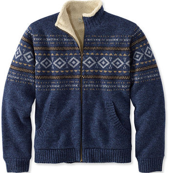 Men's Sherpa Fleece-Lined Sweater, Full Zip Fair Isle | Free Shipping at L.L.Bean