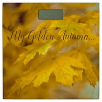 Yellow autumn maple leaves. Add you text or name. Bathroom Scale