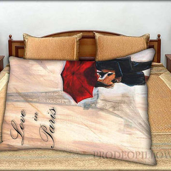 "EIFFEL TOWER Paris in the Rain Cartoon - 20 "" x 30 "" inch,Pillow Case and Pillow Cover."