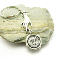 Initial hand Keychain, Personalized Keychain, Wax Seal Initial Silver Keychain, Personalized Gift for Men or Women, Monogrammed Keychain