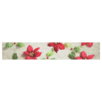 """Sylvia Cook """"Poinsettia"""" Holiday Leaves Table Runner"""