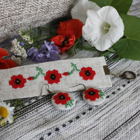 Boho Bracelet and earrings hand embroidered jewelry Red Poppies Ukrainian vyshyvanka delicate embroidery rustic wedding accessories