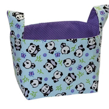 NEW Panda Gift Basket | Panda Bear Storage Bin | Bedroom Storage | Desk Organizer | Toy Storage | Girl's Bedroom Storage