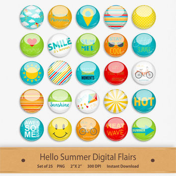 Hello Summer Digital Flairs Scrapbooking Elements Embellishment Bicycle Decorative Stickers Buttons Clipart Badge Clip Art Sunglasses PDF
