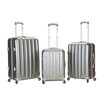 F185-GT SILVER 3Pc Metallic Polycarbonate Luggage Set