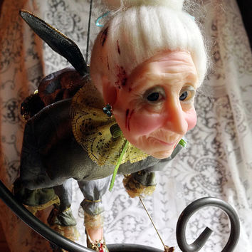 Evil Godmother, Creepy Doll, Haunted Toy, Halloween Prop, Scary Decoration, Evil Fairy, Altered Doll, Old Woman, Bloody Creature, Bad Fae