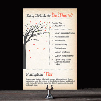 Printable Eat Drink Be Married Cocktail Party Recipe Cards - Rustic Theme - Pumpkin Tini