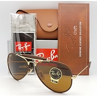 NEW Rayban Outdoorsman Craft Sunglasses RB3422Q 9041 58 Gold Brown B15 AVIATOR