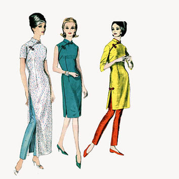 1960s Asian Style Cheongsam Evening Cocktail Fitted Sheath Dress Slim Tapered Pants Bust 34 Vogue 5571 UNCUT Womens Vintage Sewing Pattern