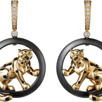 Panthère de Cartier earrings: 18K yellow gold earrings set with ceramic ring, black lacquer spots, onyx noses, tsavorite garnet eyes and diamonds.