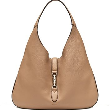 Gucci Jackie Grand Prix Soft Pebbled Classic Camel Leather Hobo Bag 362968