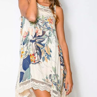 Floral Print Lace Keyhole-Back Sleeveless Dress