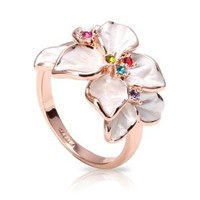Fashion Plaza Christmas Gift Multi-color Cubic Zirconia Flower Ring R79
