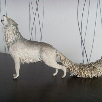 Wolf statue - original handmade OOAK fantasy sculpture wolf figure wolf statuette fantasy animal figure figurine creature totem surreal