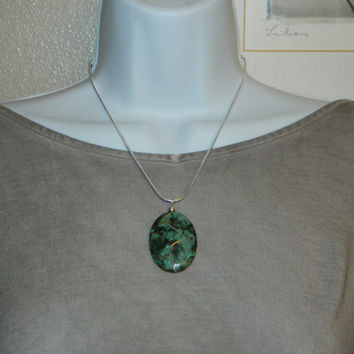 75ct. Green and Black Stone, Semi Precious, Agate, Pendant, Necklace, Oval, Natural Stone, 157-15