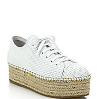 Miu Miu - Perforated Leather Lace-Up Esapdrille Sneakers - Saks Fifth Avenue Mobile