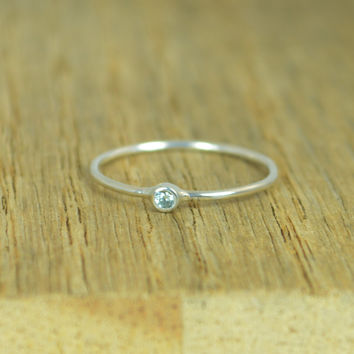 Tiny Sterling Silver Aquamarine Ring