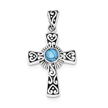 Sterling Silver Antiqued Recon Turquoise Cross Pendant