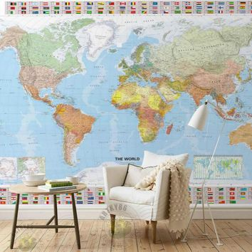 World map world state enterprise country TV Wall Mural Wallpapers Backdrop Painting Living Room Bedroom Modern Simple Wallpapers