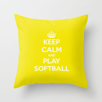 Keep Calm & Play Softball. Throw Pillow by Abigail Ann | Society6