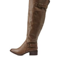 Tan Over-the-Knee Riding Boots by Charlotte Russe