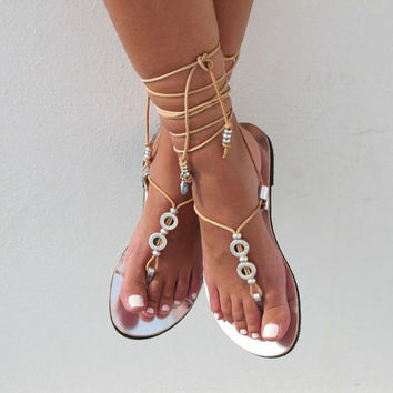 Leather sandals in silver, Lace up sandals, bridal sandals, wedding flats HERA 06 NEW