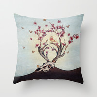 Animal Skull and Butterflies Throw Pillow by Paula Belle Flores