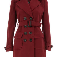 Brick red belted trench coat - Coats - Clothing - Dorothy Perkins