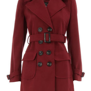 Brick red belted trench coat - Clothing - Dorothy Perkins