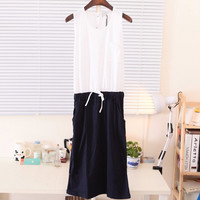 Spring Two Part Pocket Front Botton Down Back Sleeveless Comfy Cotton Dress