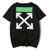 Off White Summer Fashion New Bust Letter Colorful Stripe And Back Arrow Print Top T-Shirt Black