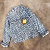 "Louis Vuitton""LV x Supreme ''Fashion Embroidery Distressed Denim Cardigan Jacket Coat Blue"
