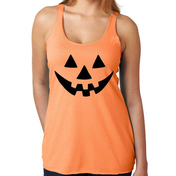 Jack O Lantern pumpkin Orange Women's Triblend Tanktop