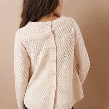 Dusty Pink Button Back Sweater