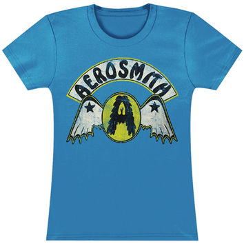 Aerosmith  Circle A W/ Wings Girls Jr Tissue Tee Blue