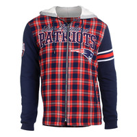 New England Patriots KLEW Flannel Hooded Jacket Size M-XXL w/ Priority Shipping