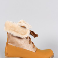 Shearling Cuff Hiking Ankle Boots