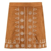 Naia Embroidered Front A Line Suedette Mini Skirt   Boohoo