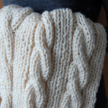 Ivory Hand Knit Cable Knit Baby Blanket