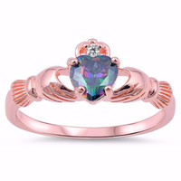 Silver Rose-Gold Tone Plated CZ Simulated Rainbow Topaz Benediction Claddagh Ring