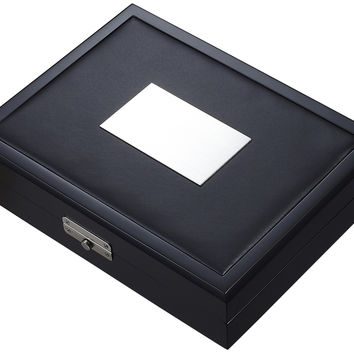 Night Black Matte Wood & Leather Travel Cigar Humidor-Holds 20 Cigars
