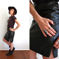 Black Leather High Waist Zipper Slits Mini Skirt 28 29 Wilsons 90's