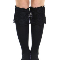 BLACK LACE THIGH HIGH SOCKS