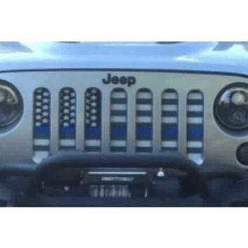 American Flag Blue Line (Black & White) / Jeep Grill